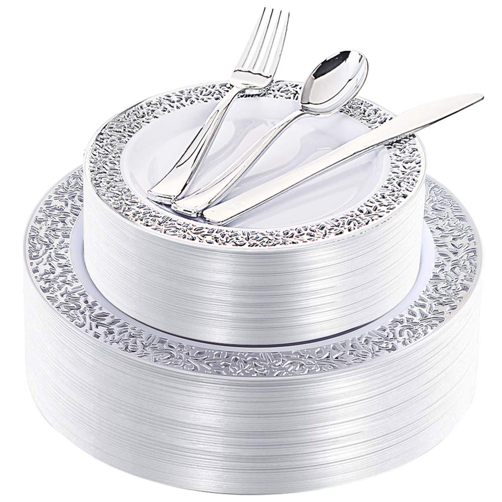 180 Pieces Silver Plastic Plates with Disposable Silverware, Lace Design Silver Plates Includes 36 Dinner Plates 10.25 Inch, 36 Dessert Plates 7.5 Inch, 36 Forks, 36 Knives, 36 Spoons by IOOOOO