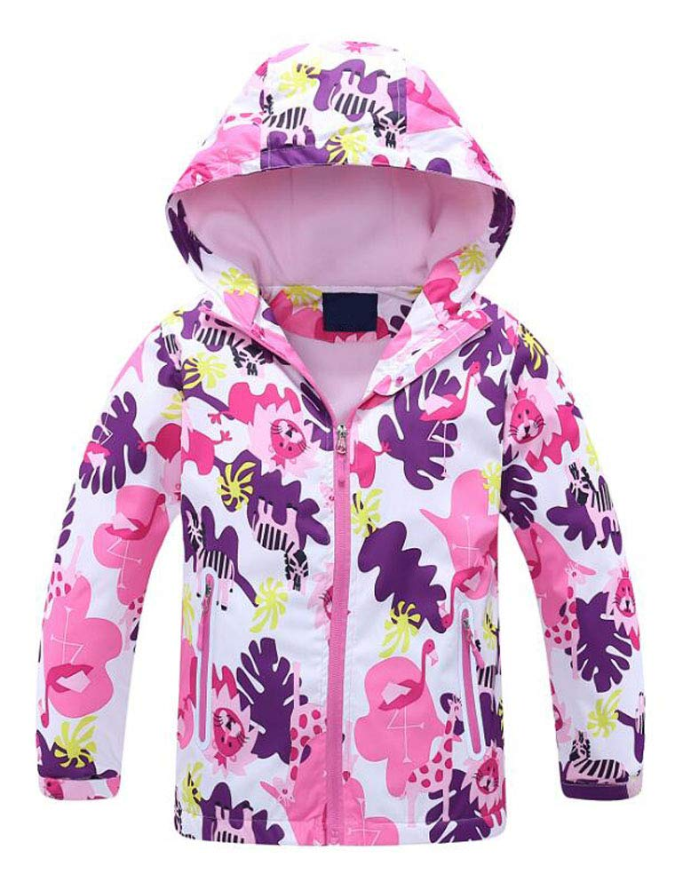 Mallimoda Girls'Hooded Jacket Fleece Liner Waterproof Outdoor Coat Outwear Style 2 Pink 7-8 Years by Mallimoda