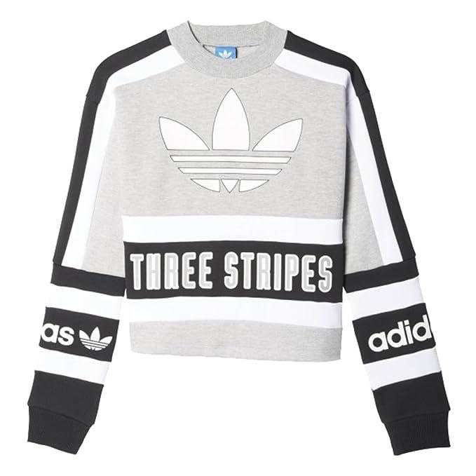 Sudadera adidas – Sweatshirt gris/negro/blanco talla: 36 S (Small)