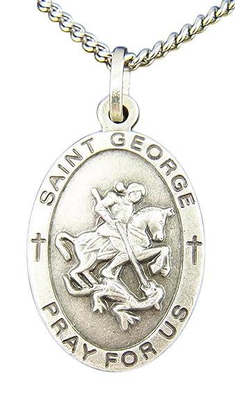 Amazon nickel silver catholic patron saint george oval medal nickel silver catholic patron saint george oval medal pendant 1 inch aloadofball Image collections