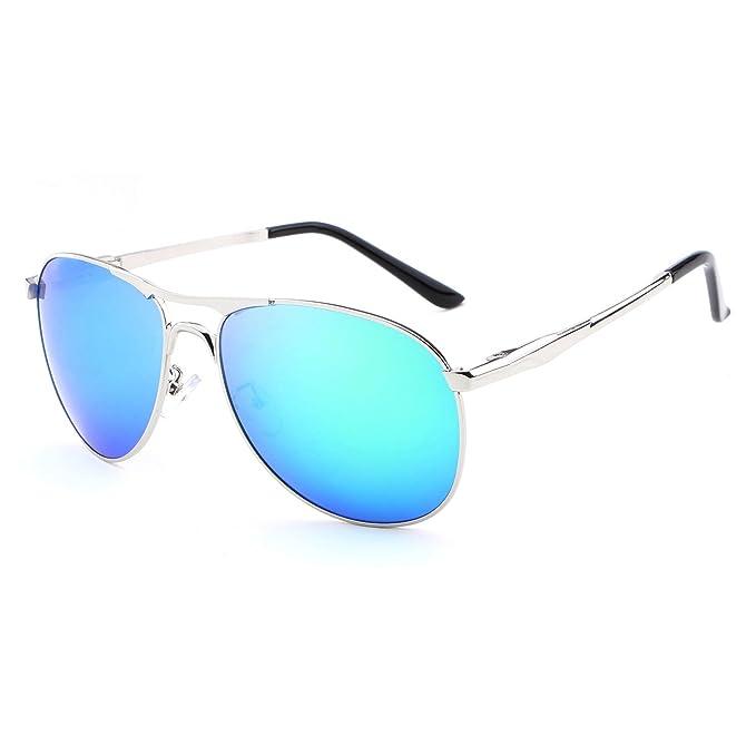 HDCRAFTER - Gafas de aviador polarizadas con protección UV400, para hombre, para exterior silver