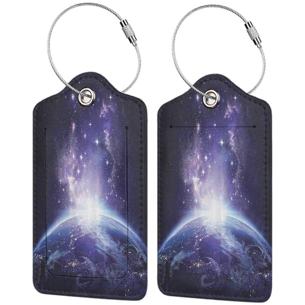 Modern luggage tag Outer Space Decor Collection Earth Night View from Space Starry Sunrise Sunlights Rays from Horizon Picture Suitable for children and adults Midnight Blue W2.7 x L4.6