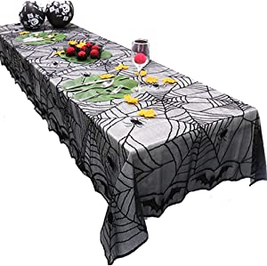 "Wopulite 48""x96"" Halloween Tablecloth, Spider Web Table Cover, Black Polyester Lace Rectangular Tablecloth for Halloween Night Party Ornament"