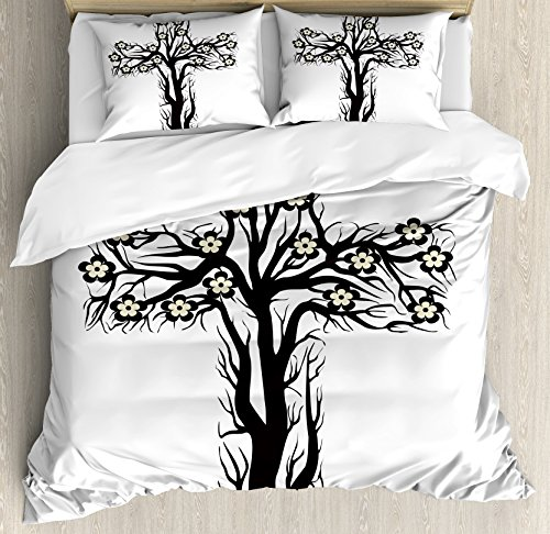 Baptism Duvet Cover Set by Ambesonne, Floral Christian Cross in Tree Shape Christ Religion Prayer Blessed Miracle Symbol, 3 Piece Bedding Set with Pillow Shams, Queen / Full, Black Cream by Ambesonne