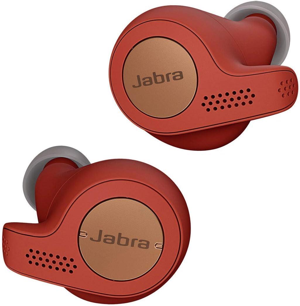 Jabra Elite Active 65t – Auriculares Deportivos Bluetooth con Cancelación Pasiva de Ruido y Sensor de Movimiento, Auténticas Llamadas Inalámbricas y Música, Rojo Cobre