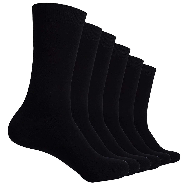 Premium Wear 6 Pairs Boys Girls Unisex Plain Black School Socks for Children Kids with Lycra Size 4-6.5