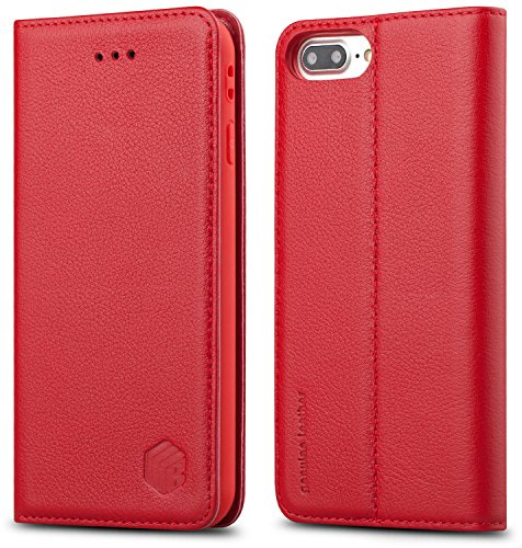 For iPhone 8 Plus / 7 Plus Case, WenBelle Genuine Leather Wallet Case [Magnetic Closure] Flip Book Design Stand Folio Protective Cover Case for Apple iPhone 8 Plus / iPhone 7 Plus (5.5 inch) (Red) Red Luxury Leather
