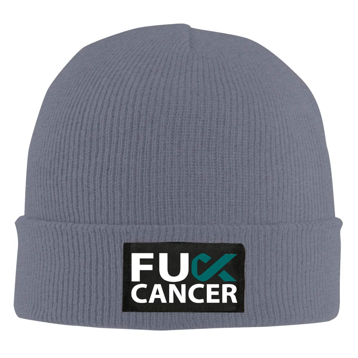 Fuck Ovarian Cancer Teal Ribbon Unisex Warm Winter Hat Knit Beanie Skull Cap Cuff Beanie Hat Winter Hats