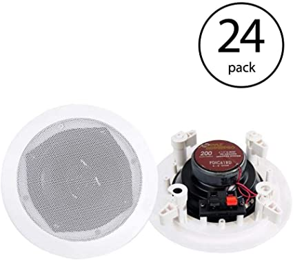 PYLE PRO PDIC61RD 6.5/'/' 200W 2-Way In-Ceiling//Wall Speaker System White 2 Pack