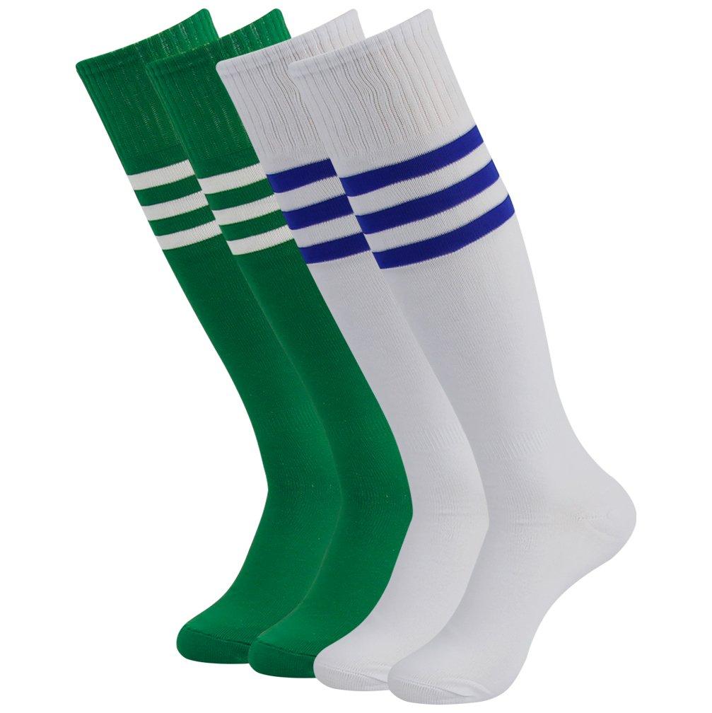 Soccer Knee High Socks, Diwollsam Girls Womens 2 Pairs School Uniform Wicking Moisture Sports Team Football Cosplay Cheerleading Long Socks(White/Green) by diwollsam