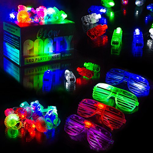 LED Kids Party Favors - 52 Neon Glow in The Dark Parties Supplies for Goody Bags - 5 LED Glasses, 13 Bumpy Jelly Glow Rings. 34 Finger Flashing Rings - Bulk Light up Toys in Assorted Colors by A3 DIRECT
