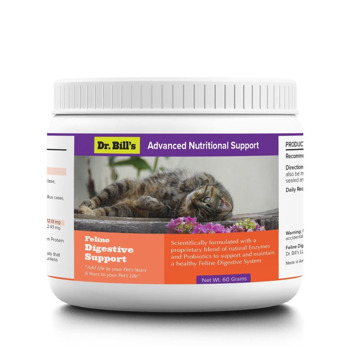 Dr. Bill's Feline Digestive Support Pet Supplement 60g - Probiotic, Prebiotic, and Natural Digestive Enzymes for Cats