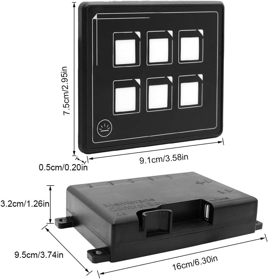 Suuonee Touch Panel Switch 12-24 V Auto Universal 6 P LED Touch Membran Bedienfeld Schalter Elektronisches Zubeh/ör