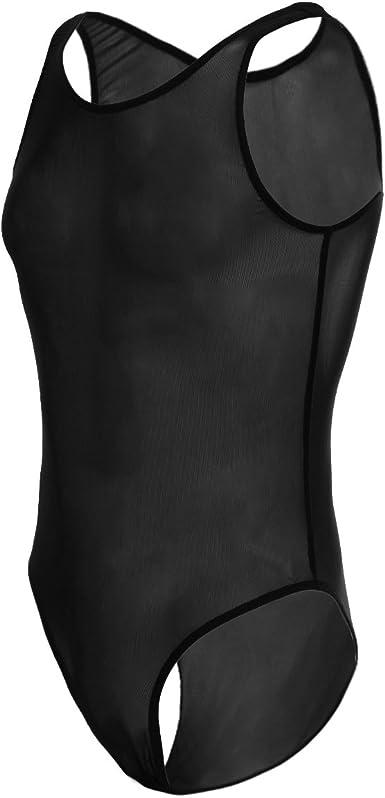 Men/'s Bodysuit Mesh Sheer Leotard Jumpsuit Wrestling Singlet Lingerie Underwear