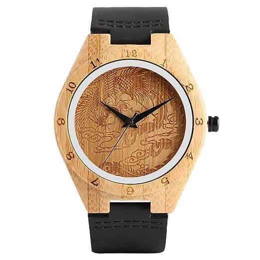 Relojes de bambú, Reloj de Cuarzo con Esfera de fénix, Correa de Piel analógica