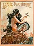 1920's La Vie Parisienne Mermaid French Nouveau Paris France Europe European Vintage Travel Advertisement Art Poster. Poster measures 10 x 13.5 inches