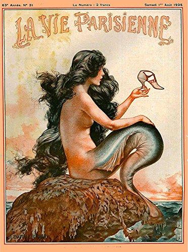 A SLICE IN TIME 1920's La Vie Parisienne Mermaid French Nouveau Paris France Europe European Vintage Travel Advertisement Art Collectible Wall Decor Poster Print. Poster measures 10 x 13.5 inches