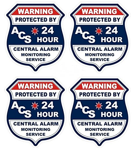 4 Pcs Expert Popular ACS Security Sticker Sign Window Decal Video Surveillance Door Reflective Size 3.5