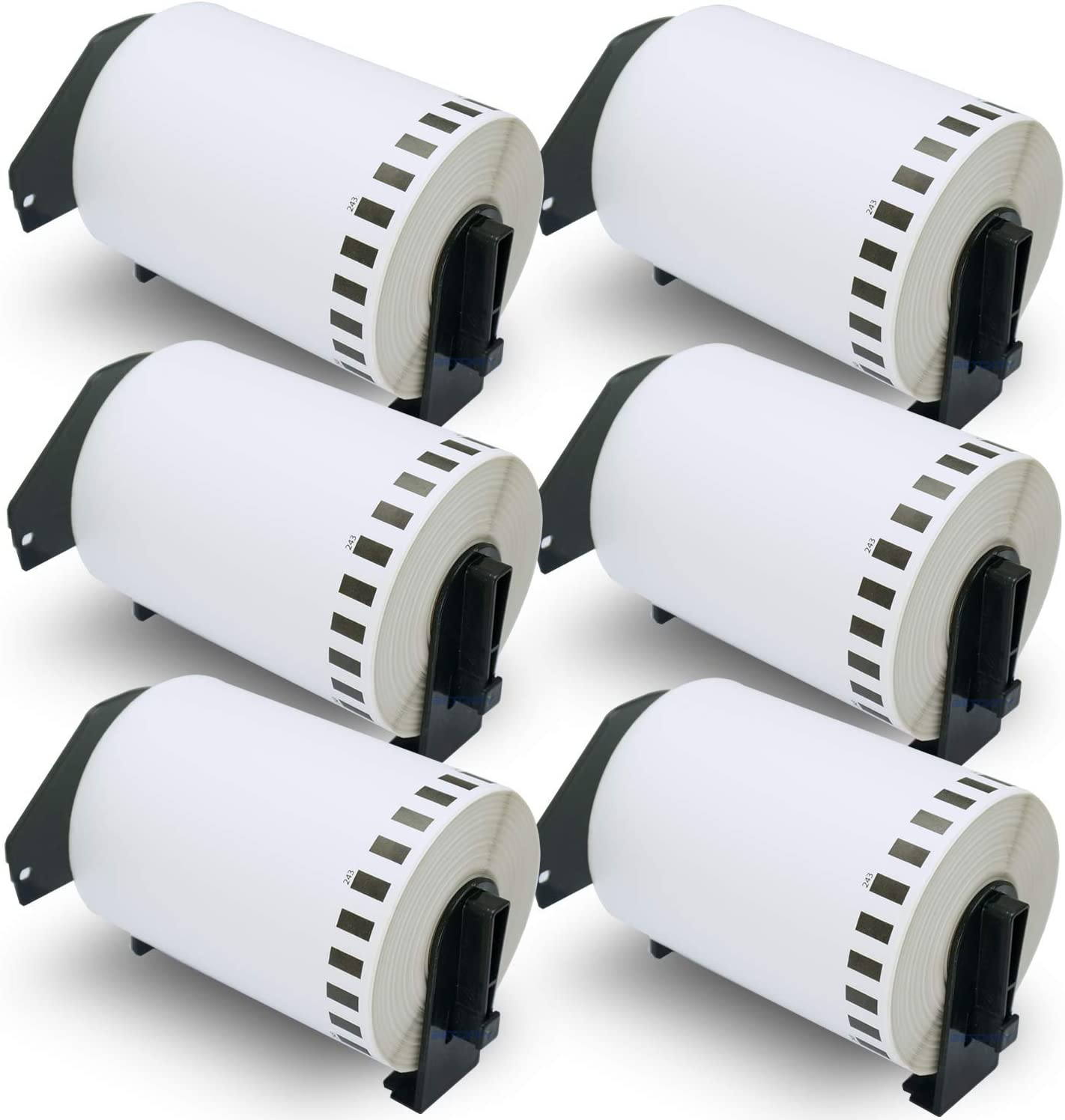 """BETCKEY - Compatible DK-2243 Continuous 4"""" x 100' Replacement Labels, Compatible with Brother QL Label Printers [6 Rolls with Refillable Cartridge Frame] : Office Products"""