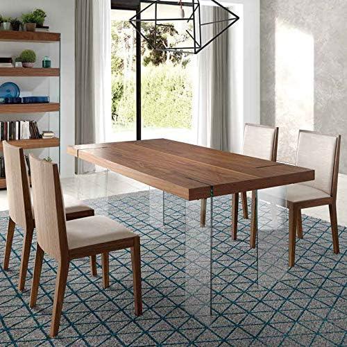 Mesa de comedor de diseño de color nogal y cristal Cronos: Amazon ...