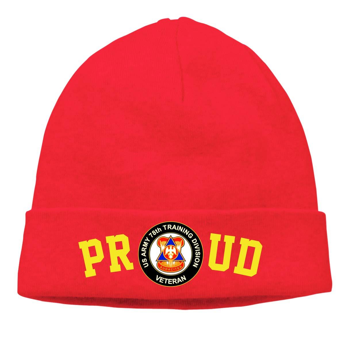FORDSAN CP Proud US Army 78th Training Division Veteran Mens Beanie Cap Skull Cap Winter Warm Knitting Hats.