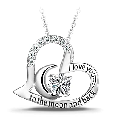Amazon Com T400 925 Sterling Silver Necklace I Love You To The Moon
