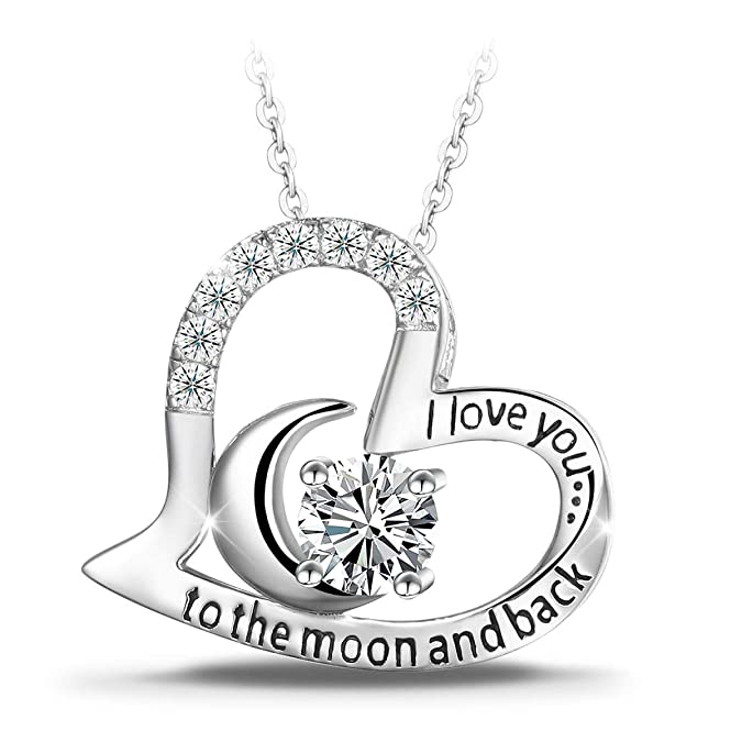 T400 925 Sterling Silver Necklace I Love You To The Moon And Back