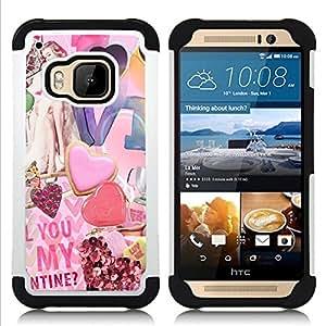 """HTC One M9 /M9s / One Hima - 3 en 1 impreso colorido de Altas Prestaciones PC Funda chaqueta Negro cubierta gel silicona suave (Papel Arte Moderno de San Valentín del corazón"""")"""
