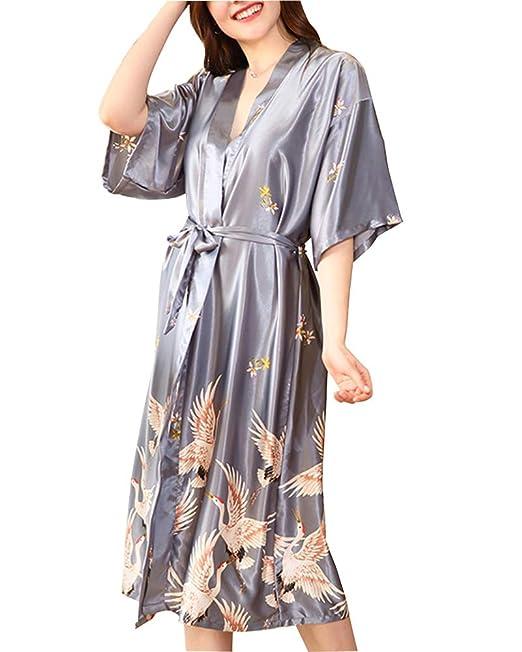 DaiHan Pijama de satén Kimono de Seda Vestido Kimono Pijama de Seda Novia Kimono de Seda Ropa de Dormir de Satén Estampado Grúa: Amazon.es: Ropa y ...