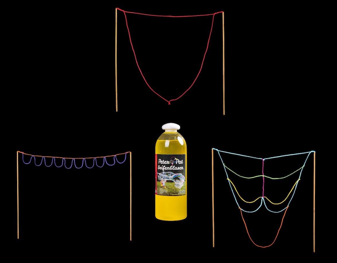 Seifenblasenmagier - Riesenseifenblasen Set, Konzentrat für 14 L Lauge & 3 Profi-Instrumente