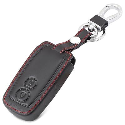 2 Boutons En Cuir Porte-clés Fob Cas Smart Car Key Housses en cuir avec porte-clés