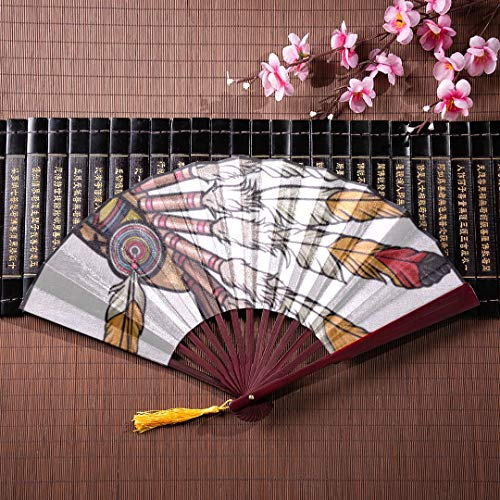 (JGYJF The Hand Fan Colorful Feather Headdress with Bamboo Frame Tassel Pendant and Cloth Bag Japanese Hand Fans for Women Durable Folding Fan Folding Fan Wall Art )