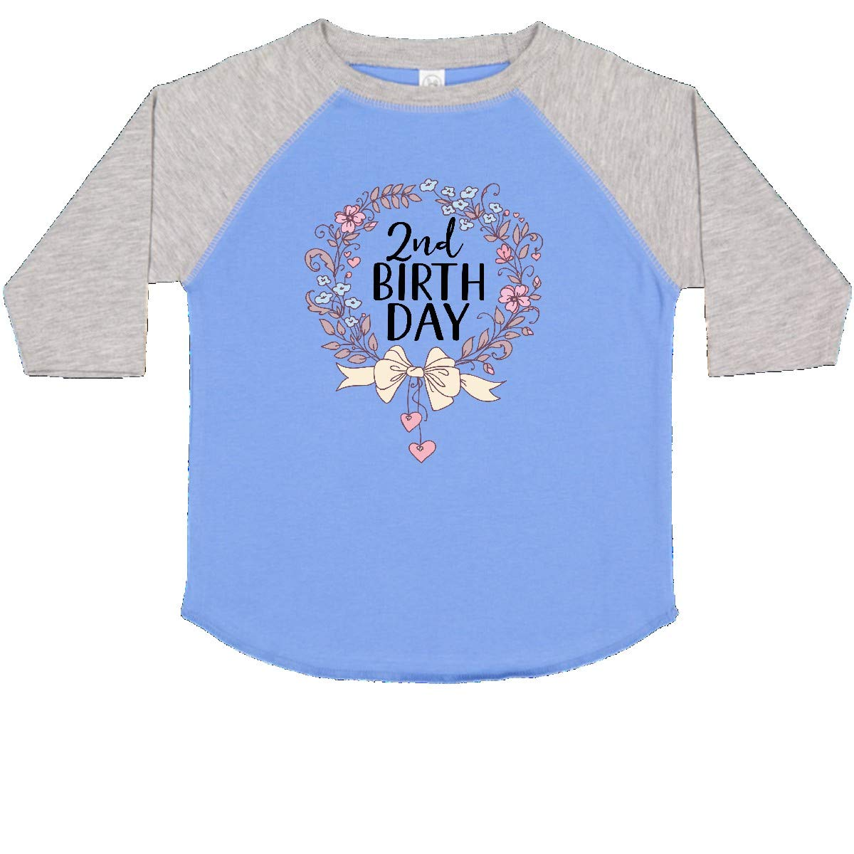 inktastic 2nd Birthday Floral Wreath 2 Year Old Toddler T-Shirt