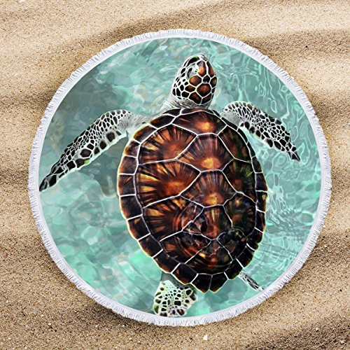 ARIGHTEX Sea Turtle Beach Towel Turquoise Round Tablecloth Teens Round Beach Towel Blanket with Tassels Beaches Decoration -
