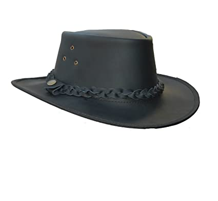 Lesa Collection Outback Black Brown Leather Cowboy Western Australian Style Bush  Hat  Amazon.co.uk  Clothing 53f4f982bf9