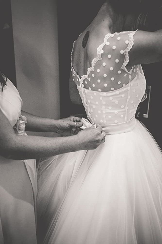 Firose Vintage 1950s Wedding Dresses Lace Polka Dotted Tea Length