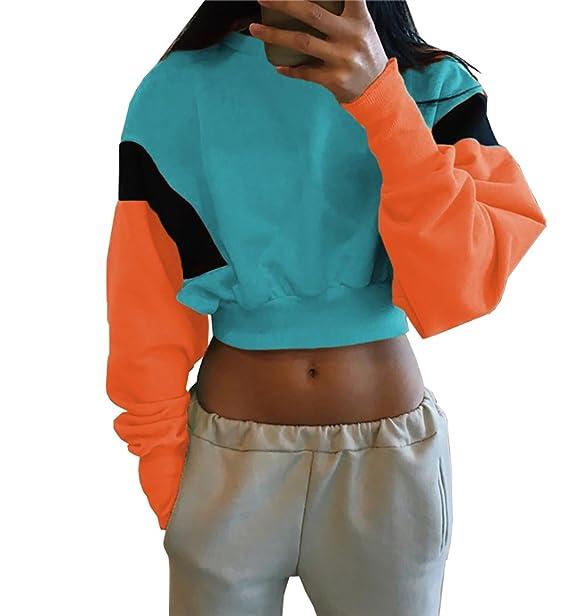 55ac45dfa03 PRETTYGARDEN Women s Casual Long Sleeve Fashion Patchwork Crew Neck  Pullover Crop Top Sweatshirt (Blue