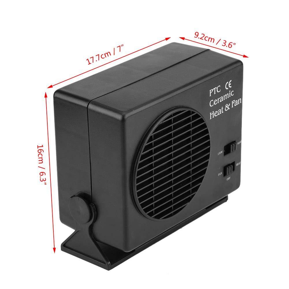 Poco Ruido Calefactor Coche Negro 12V 300W Calefacci/ón y Refrigeraci/ón 2 en 1 con Interruptor Calefactor Coche Potente