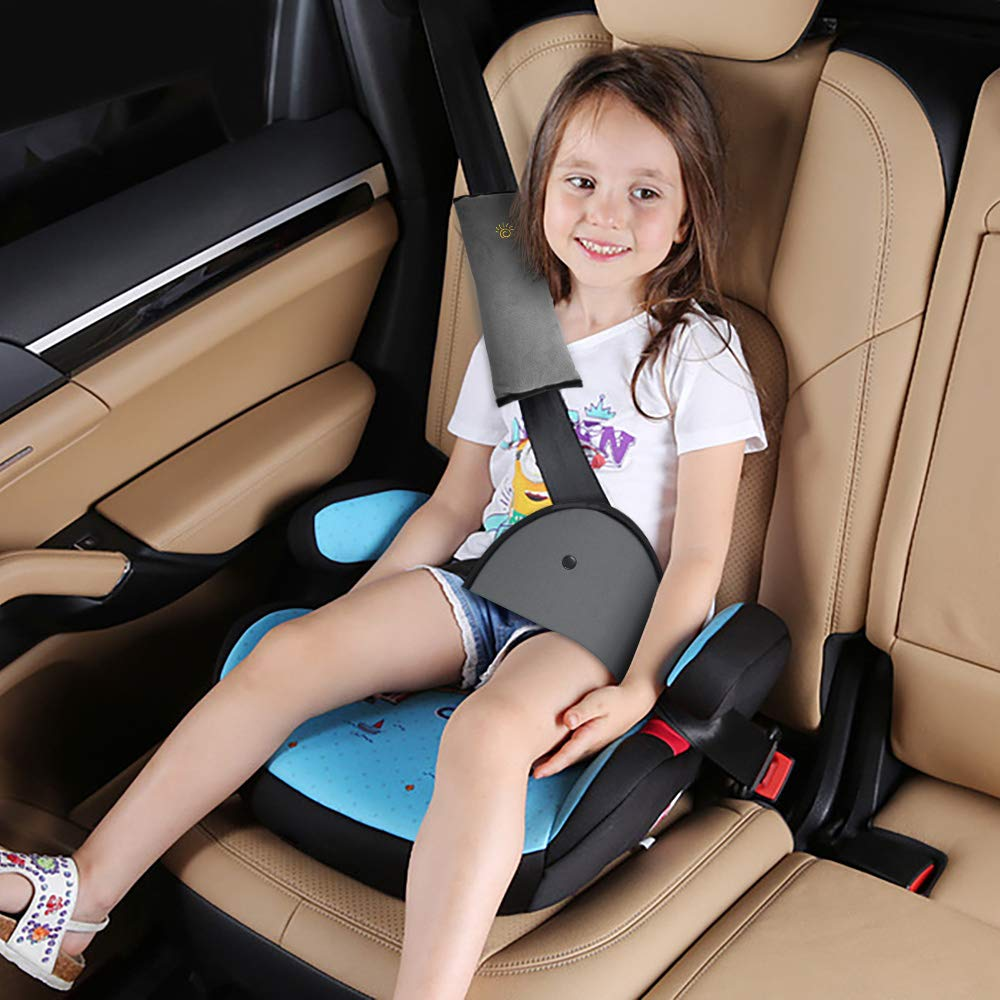 Car Seat Belt Pillow, Elegear [3 Pack] Comfortable Soft Seat Belt Cover Pads, Ergonomic Breathable Cotton Head Support Shoulder Protection Cushion for Baby, kid, Adult - Gray