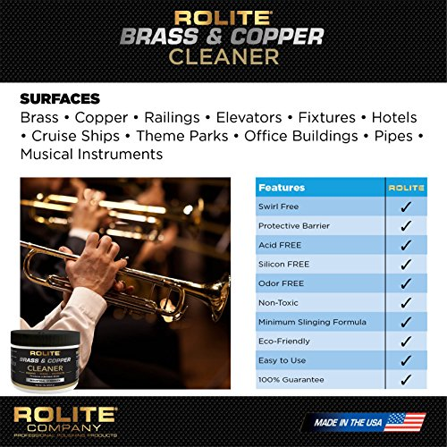 Rolite Brass & Copper Cleaner (4.5oz) Instant Cleaning & Tarnish Removal on Railings, Elevators, Fixtures, Hotels, Cruise Ships, Office Buildings by Rolite (Image #3)