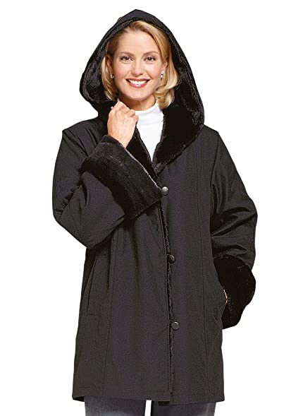 AmeriMark Microfiber Faux Fur-lined Coat at Amazon Women's Coats Shop