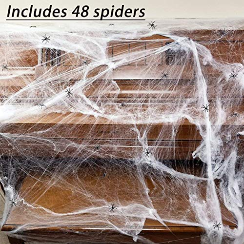 (850sqft Fake Spider Web Halloween Decorations Outdoor Party Props Supplies,with)