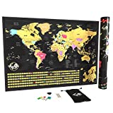 Vagabond Maps Classic Large Scratch Off World Map with Flags XXL - Personalized Poster to Keep Track of Travels -with Zoom of Europe - Show Your Adventures (33 x 22.8 in.) U.S. States Outlined