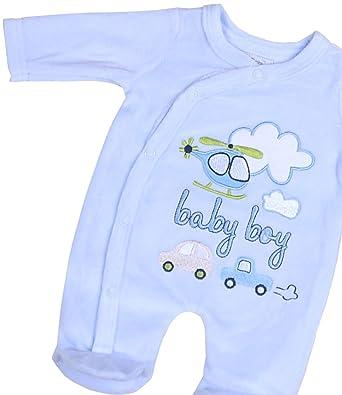 16dfff987134 BabyPrem Premature Tiny Sleepsuit Baby Boy Blue Cotton Velour ...