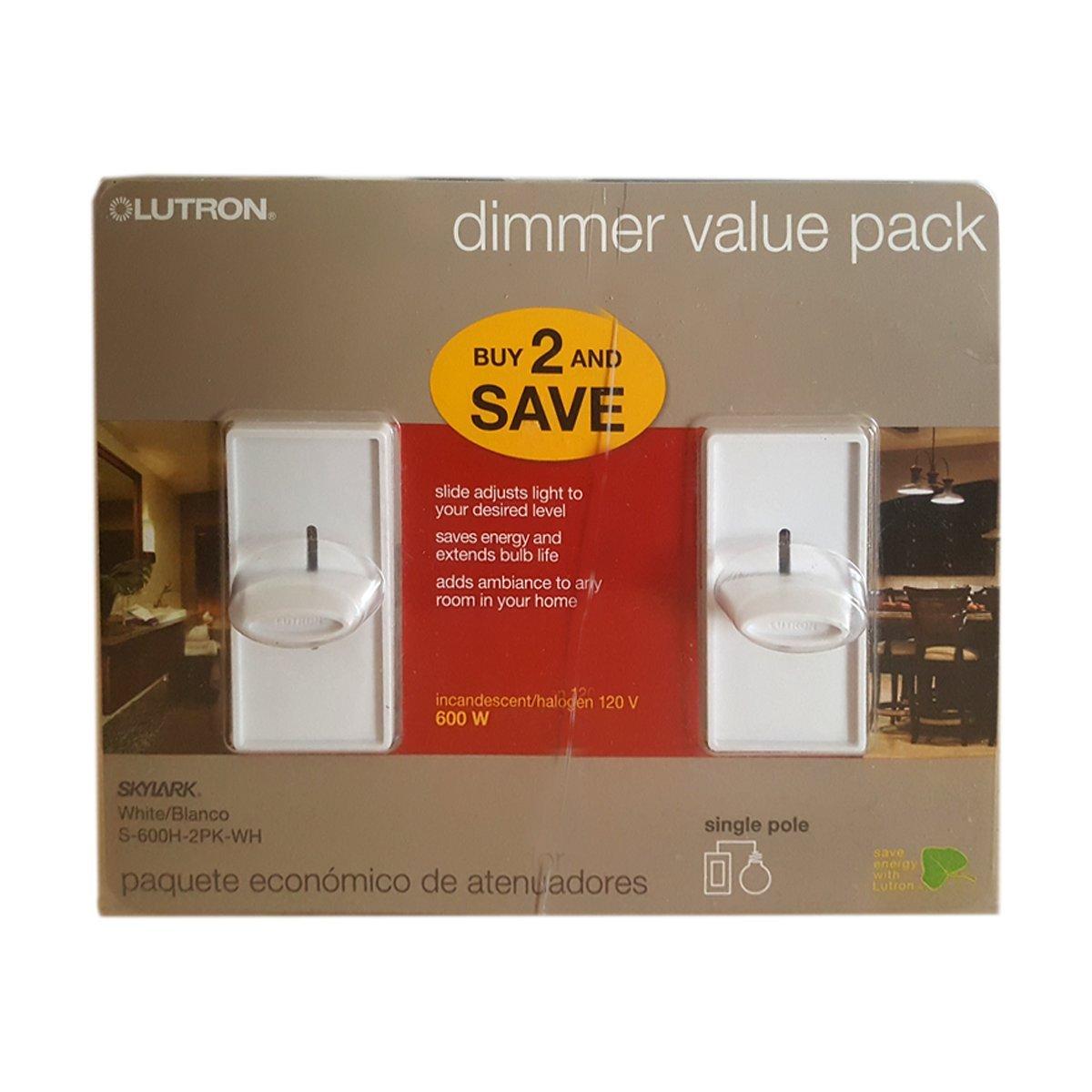 Skylark 600-Watt Single Pole Slide to off Dimmer (2-Pack) - White - - Amazon.com