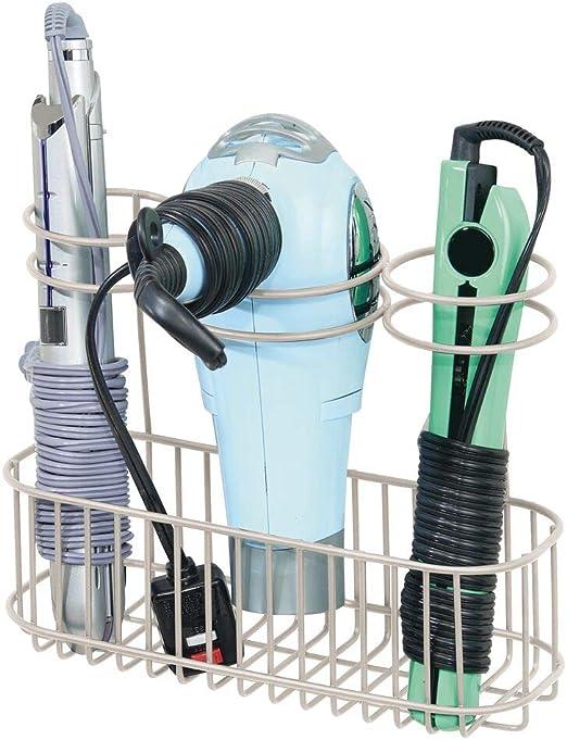 Bathroom Wall Mount Hair Tools Organizer Curling Flat Iron Styling Dryer Storage