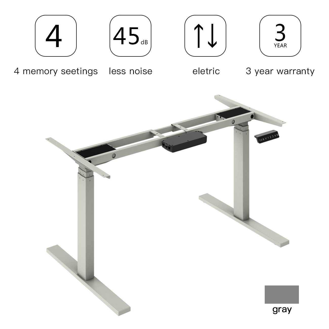 AODAILIHB Electric Stand Up Desk Frame Workstation,Adjustable Base Height Sit-Stand Standing Desk Frame Dual Motors More Stable (Grey) by AODAILIHB
