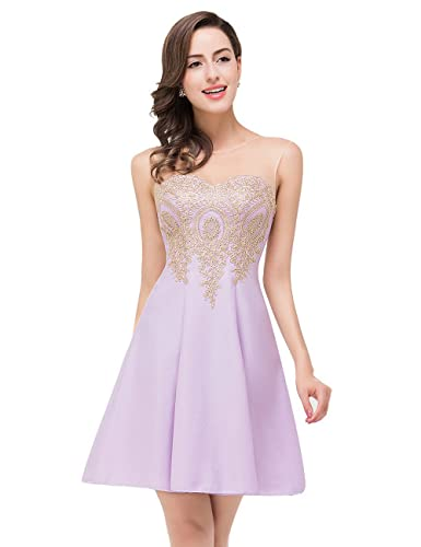 MisShow Junior's Homecoming Dress Applique Short Cocktail Prom Dresses