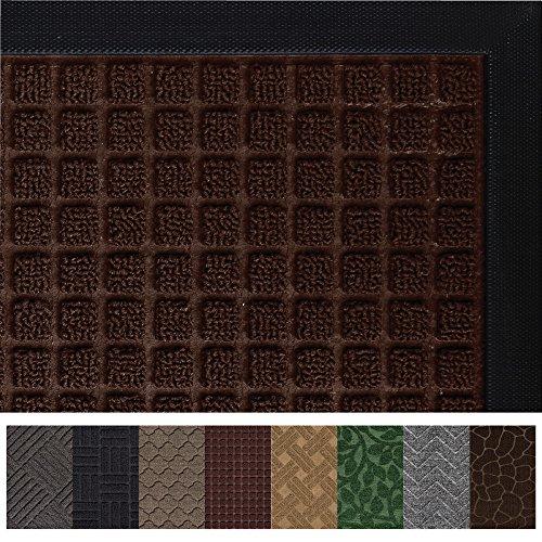 Gorilla Grip Original Durable Rubber Door Mat (35 x 23) Heavy Duty Doormat for Indoor Outdoor, Waterproof, Easy Clean, Low-Profile Rug Mats for Entry, Patio, High Traffic Areas (Chocolate Squares)