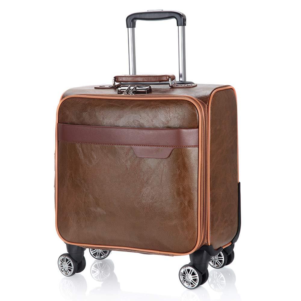 荷物スーツケース、出張PUレザーローリング荷物スーツケース、微調整レトロユニバーサル4輪トロリー、18インチキャリングスーツケース,A B07SKH4KGN A